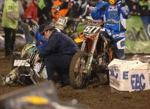 While battling for second place, Gosselaar crashed and took Martin Davalos down with him.
