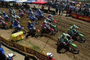 Brett Metcalfe battles for the holeshot in his first moto back.