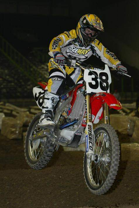 After taking a dip in the rankings in 2003 to #54, Thomas rode well enough to get himself back in the 30s, and he wore the #38 on the new Subway Honda team. Thomas rode particularly well in supercross this season.