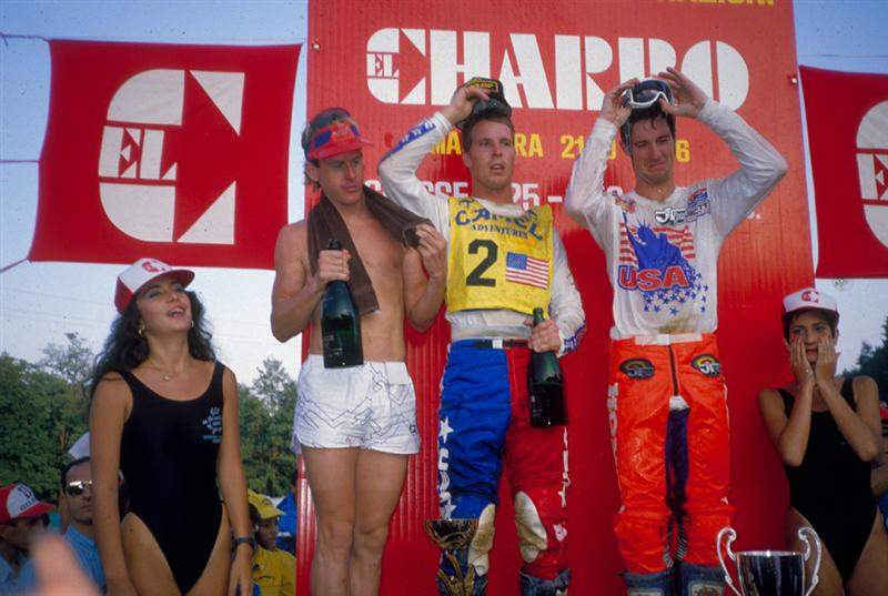'86 des Nations podium. When I see photos from that podium in Italy, I mostly remember how cold I was. It was nice to win, but I'd had half of the final moto to soak that in already. At this point, I was just anxious for the announcer to go through the other eight riders up there so I could go back to the hotel and take a hot shower and focus on marrying Gina when I got home.