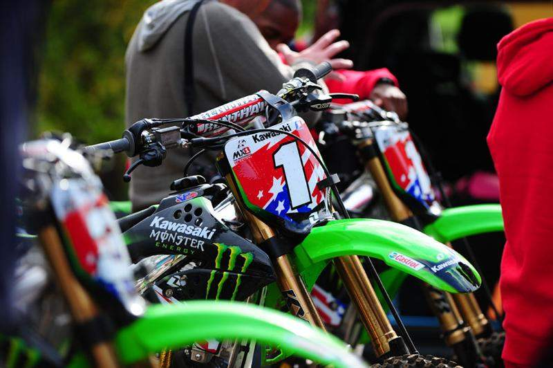 James Stewart's and Timmy Ferry's factory KX450Fs are ready for racing this weekend at Donington. Here they sit ready to ride at Tommy Searle's practice track.