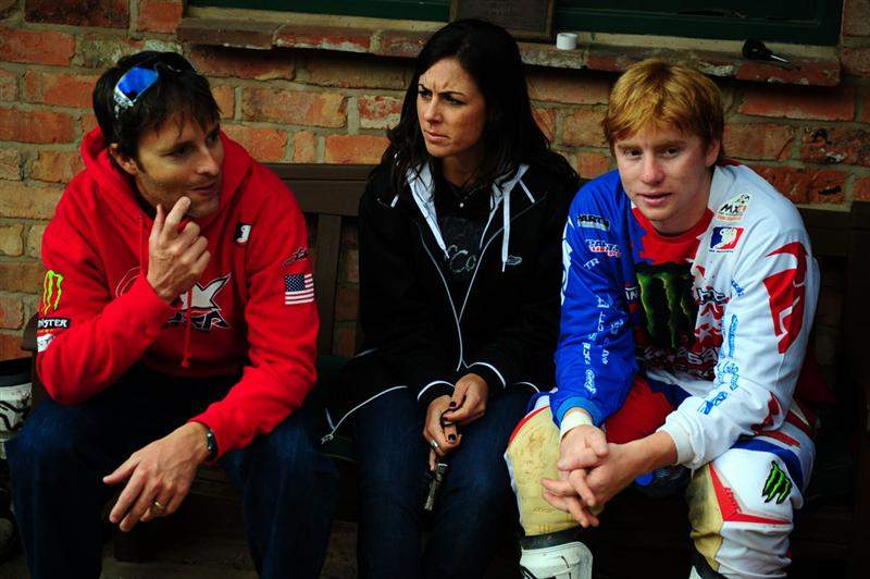 Team USA's MX2 entry, Ryan Villopoto (right), sits with his girlfriend Kristen and Oakley's Anthony Paggio at the practice track.