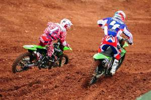 James battled with Sebastien Pourcel (4) early in the moto