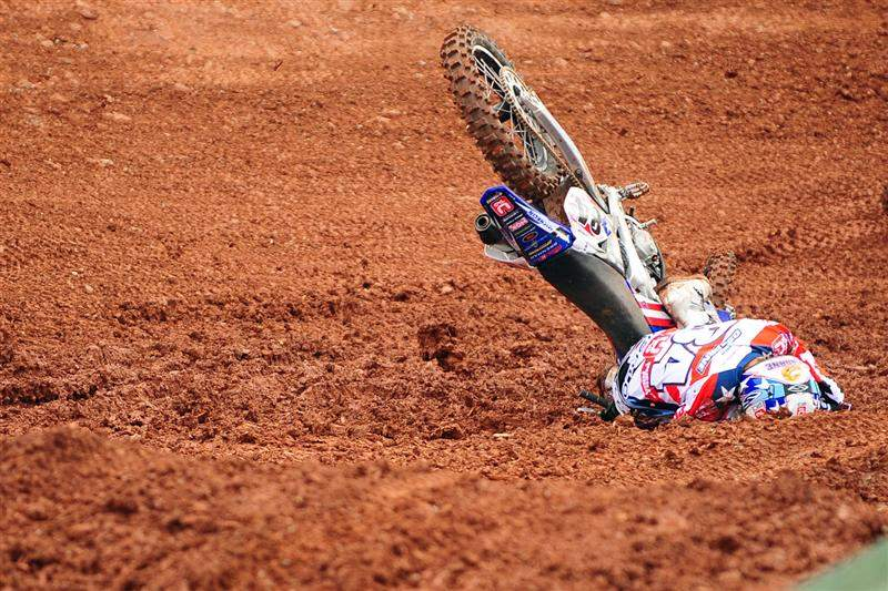 Zach Osborne's second moto was ruined by this crash