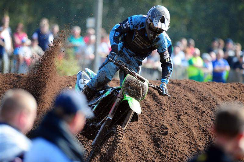 South African Gareth Swanepoel was third overall in MX2 action at Hawkstone Park.