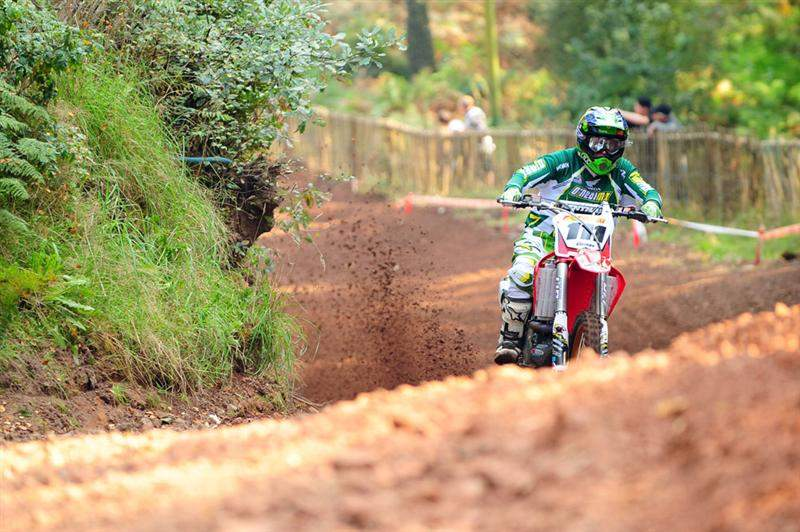 Ray Rowson won the MX1 class with a 2-1 score. Here he is going up Hawkstone's giant hill.