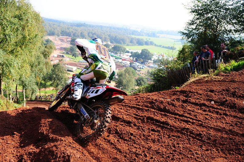 Rowson heads down Hawkstone's giant hill.