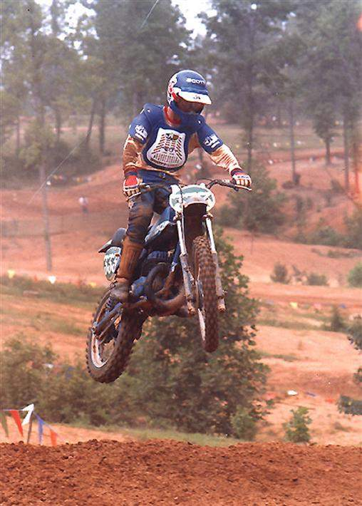 My blue Bultaco. This was my first year pro, at a local race in North Carolina at a track called Rolling Hills. I felt pretty fast in those days when I rode local races, but I got smoked at the nationals. That bike was my and my dad's creation. Simmon's forks, Works performance shock(s), homemade tank, seat and pipe etc. Bultaco was just about extinct, but I kept it alive as long as I could. I loved the red engine Honda works bikes back then and sort of copied their bikes, but used blue instead.