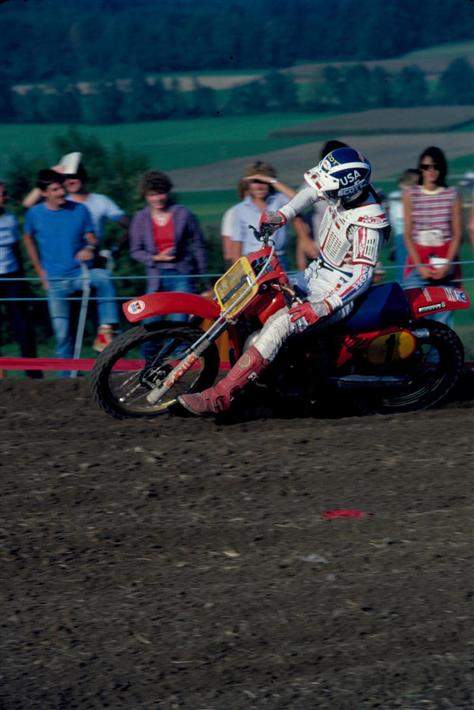 MX des Nations Swiss 500. This was the year I took Donnie Hansen's place at the '82 des Nations, when it was two separate weekends. We had already won the 250 race in Germany and this shot is in Switzerland the following weekend on the 500. JT had just come out with their V-2000 chest protector and John and Rita Gregory were there with a few prototypes. Even though I was a Fox guy, the rocks were so bad on half the track I called dibs on one of 'em and put Fox stickers on it. I had a good day finishing 4-2 and crossed the line right behind Magoo in the last moto as he completed his 4-moto sweep. After the race I signed with JT for 10-times the money Fox was paying me! I drank a lot of champagne and thought my new contract looked pretty good, but I agonized over having to explain to Fox when I got home.