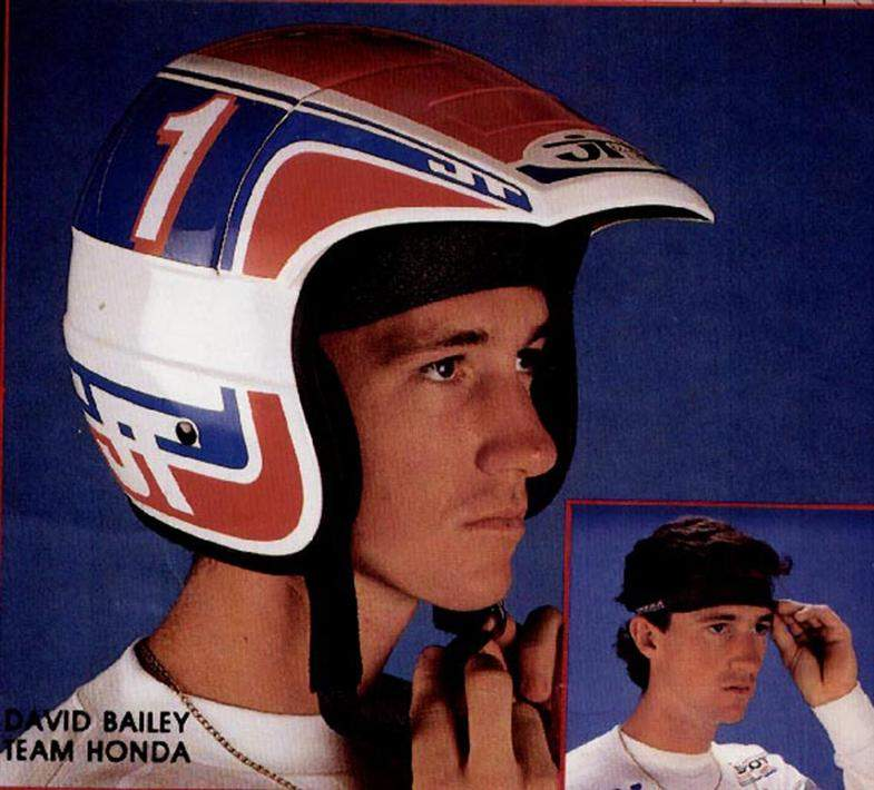 JT Helmet. It's hard to look at this photo without laughing. I used to love going down to JT and working with them on what I wanted to wear. The year I signed, all the Honda gear was red, and I asked if they could swap all the red out and use blue. They showed up at a Golden State race that weekend with blue pants and everyone dug 'em. Then I took a chance on the bright orange, and that was a hit too. This headband and the repeating