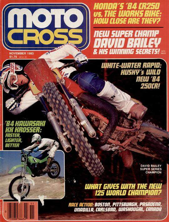 Cover. This cover shot was on my property in Virginia. It was taken at the end of 1983, after I'd won the SX, 250, and Wrangler GNC title, and I'm riding my 480. I used to have all the bike sizes and liked to mix it up and stay sharp. Most people never saw me ride a 125, but I loved riding it. This was one of those days where I could've ridden forever and was just having a blast hitting jumps and stuff over and over wherever the light was good. Not my favorite cover, but it reminds me of how much I used to ride and how much I loved it - and to always wear a facemask when cameras are involved.