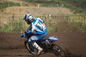 Reigning 125 Champion (and runner-up in the Open class - hence the '1/2' on the jersey...) Dave Willet has had to endure tough luck in '08 - a final moto mechanical DNF was just the icing on the cake at Mildenhall.
