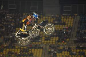 "Mike Jones has probably the best attendance record at Montreal. After racing the event in the 90's, Jones is now a regular in the freestyle contest. ""Mad Mike"" earned his nickname this year by wearing a blindfold over the big double."
