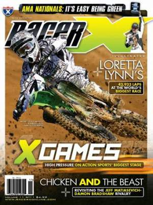James Stewart is on the cover of the November 2008 Racer X