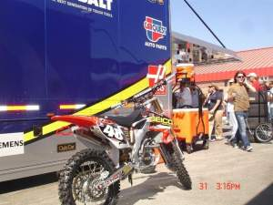 FCR/GEICO Powersports replica Trey Canard bike that Jimmie Johnson's team had at the Fontana Sprint Cup race.
