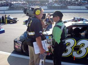 RC being interviewed before the race by NASCAR's MRN Radio.
