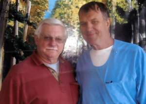 Here's a photo of imprisoned Mike Goodwin (on the right) with his longtime advocate John Bradley