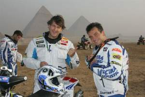 Ludo with factory KTM rider David Casteu, winner of the 2008 Pharaoh's Rally