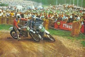 That's Jaroslav Falta getting torpedoed by Russian CZ rider at the '74 Swiss GP