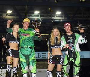 Jeff Gibson (right) was named King of the Stuttgart Supercross
