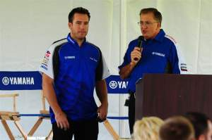 Grant Langston (left) standing with Yamaha Racing boss Keith McCarty (right) at last Friday's Yamaha team intro in Cypress, California.