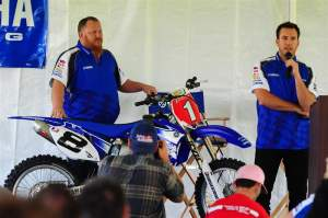 As a trophy, Langston (right) was presented a replica of his 2007 AMA National Championship-winning YZ450F. He said he is going to make it into a light fixture in his house.