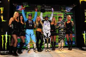 The 450cc podium gets its rewards, with Stewart (center) flanked by Reed (left) and Villopoto (right).