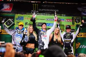 Dungey (center), Brayton (left) and Morais (right) celebrate on the podium. The top three in points are separated by only three of them, with Dungey on top on 45 over Weimer's 43 and Morais 42, with six rounds left to run.