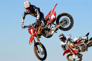 GEICO Powersports Honda riders Trey Canard (1) and Kevin Windham (14).