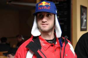 Davi Millsaps shows off an exclusive Red Bull hat at the Anaheim I Press Conference.