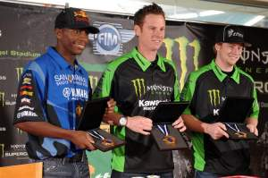 Team USA from 2008 officially receives their medals - James Stewart (left), Timmy Ferry (middle) and Ryan Villopoto (right).