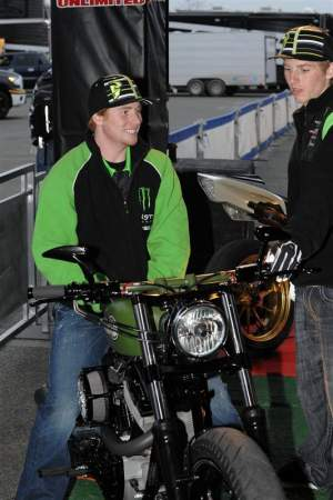 Ryan Villopoto (left) checks out one of the Roland Sands machines in the Parts Unlimited area.