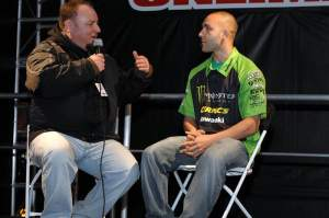 Paul Carpenter (right) talks to Rob Buydos in the Parts Unlimited area.