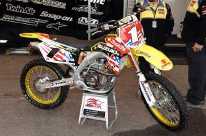 Ricky Carmichael's Budds Creek MXdN-winning RM-Z450 is on display in the Suzuki pits.