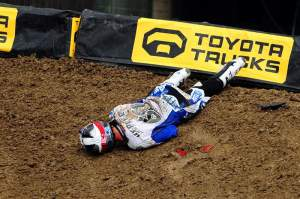 Broc Hepler went down in the whoops during the unseeded practice and knocked himself out for a little while.