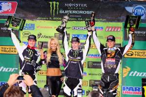 Weimer (middle), Morais (left) and Dungey (right) celebrate on the podium.