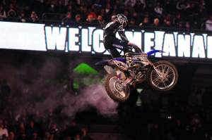 Despite gathering up a Tuff-Block cover in his rear brake with two laps to go, Josh Grant scored a surprise victory at Anaheim I.