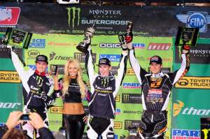 Jake Weimer (center) celebrates on the podium.