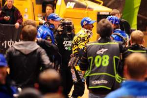 Stewart douses his team after his first win of the season, and his team's first AMA SX win post-Reed.