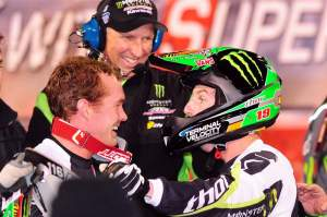 Weimer (right) and teammate Ryan Morais (left) celebrate their 1-2 finishes.