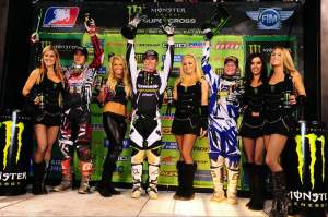 Weimer (center), Dungey (left) and Canard (right) celebrate on the podium.
