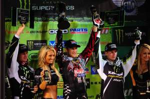 Dungey (center), Morais (left) and Weimer (right) celebrate on the podium.
