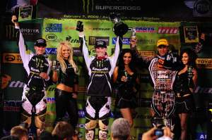 Weimer (center), Morais (left) and Brayton (right) celebrate on the podium.