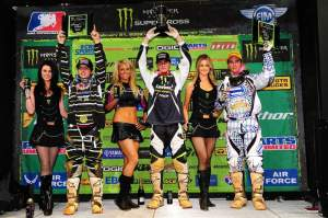 The Lites podium, with Pourcel (center), Izzi (left) and Davalos (right).