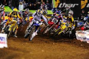 James Stewart (7) grabbed the 450cc holeshot.