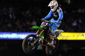 Ryan Villopoto fought his way up to fourth at the finish, just behind third.