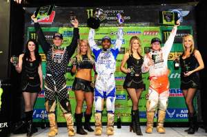 The 450cc podium with Stewart (center) flanked by Reed (left) and Villopoto (right).