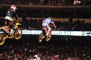 Chad Reed charges through the pack...