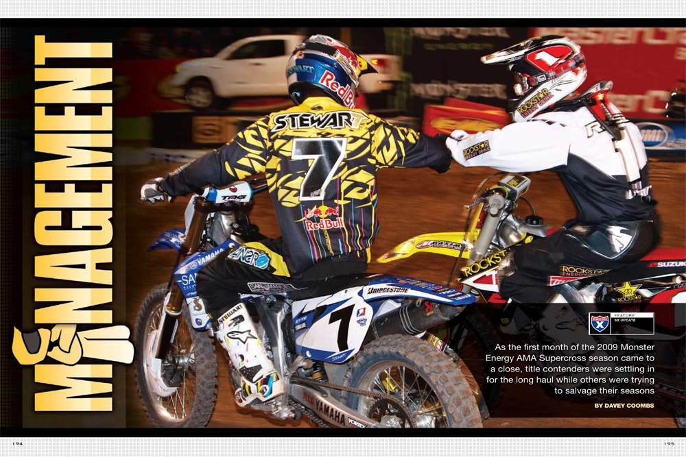 After A1 provided plenty of upsets and surprises, the supercross tour settled in for the long haul, with favorites like Stewart, Lawrence, and Canard trying to minimize losses in Phoenix, A2, and Houston. Page 194.