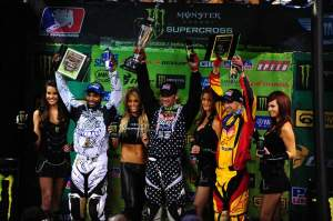 Reed, Stewart and Alessi celebrate on the 450cc podium.